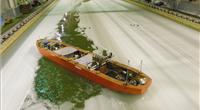 The CCGS John G. Diefenbaker model remotely-controlled by a former icebreaker captain while it was being tested in the ice tank. (Photo: National Research Council of Canada)