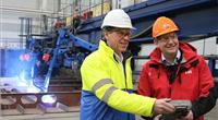 Hurtigruten CEO Daniel Skjeldam (right) officially started the construction of MS Roald Amundsen at Kleven Yards, Norway. Kleven CEO Ståle Rasmussen (left). (Photo: Hurtigruten)