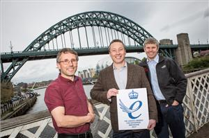 (L-R) RED Engineering's Richard Kent, Joe Orrell and Toby Bailey on Newcastle's Swing Bridge celebrating their success in winning a Queen's Award for Enterprise (Photo: RED Engineering)