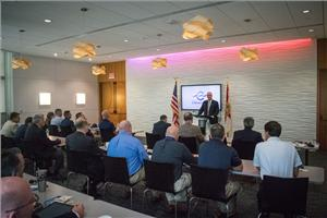 Federal Maritime Commissioner William Doyle leads discussion for port stakeholders on growing use of LNG for ship propulsion to meet international emission standards set to take effect in 2020 (Photo: Port Canaveral)