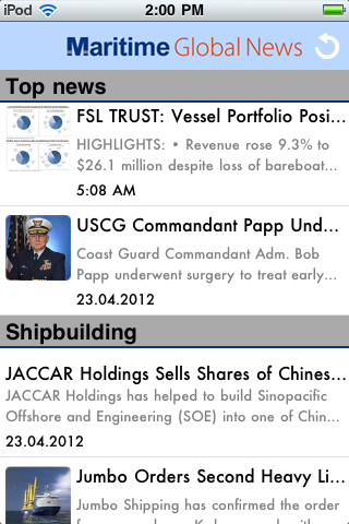 Maritime Global News App for Android and iOS (iPhone, iPad, iPod)